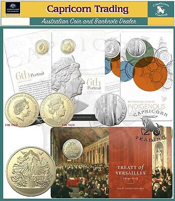 "2019 Carded Coins ""6th Effigy"" ""Indigenous Languages"" and ""Treaty of Versailles"""