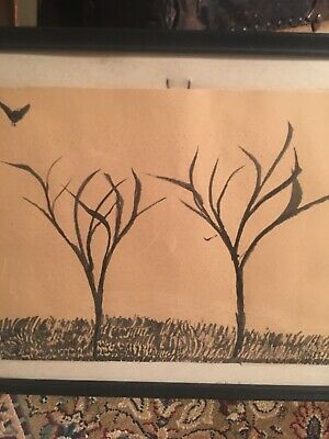 Mid Century Modern Signed Abstract All Black Painting Robin Smith Trees Crow
