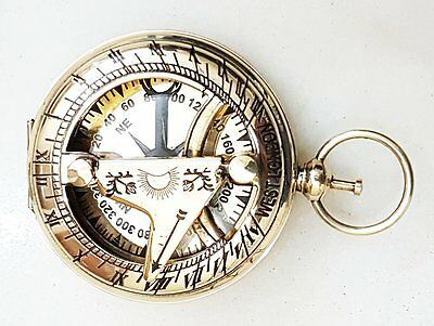 Nautical Brass Push Button Antique Maritime Rose London Sundial Pocket compass