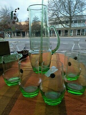 Vintage Retro Green Glass Drink Jug Set 6piece Made in Poland stickers