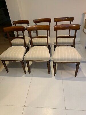 Set of six William IV mahogany dining chairs, re-upholstered and joints glued.