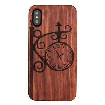 4X(For iPhone X Case, Premium Wood Veneer Rugged PC Dual Layer Hybrid Cover  M6)