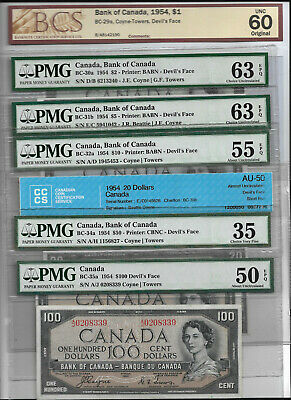 $1-$100 1954 Devils Face Set Bank of Canada Set WOW BEAUTY SET