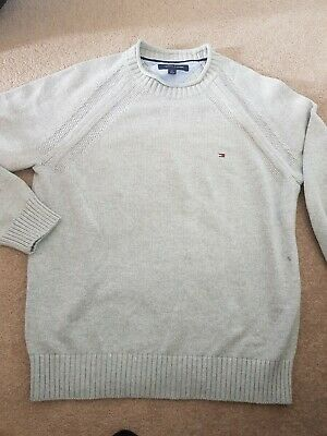 Tommy Hilfiger Mens Grey Knitted Crew Neck Cotton Jumper Medium - New No Tags