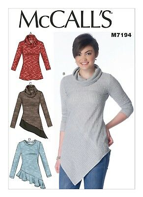 McCall's Sewing Pattern 7194 Misses 4-14 Easy Cowl Neck Tops Shaped Hemlines