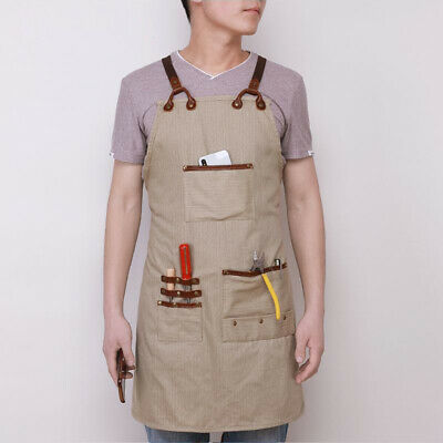 Unisex Women and Men Canvas Apron with Pockets Cross Back Straps DIY Craft Work