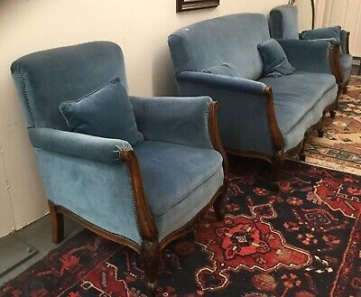 Antique Edwardian Salon Suite With Two Armchairs And Sofa (Settee) Vintage Retro