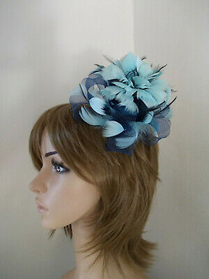 Baby Blue & Navy Blue Looped fascinator feathers hair clip brooch