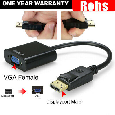 Displayport Display Port DP Male to VGA Female Video Converter Adapter Cable PC