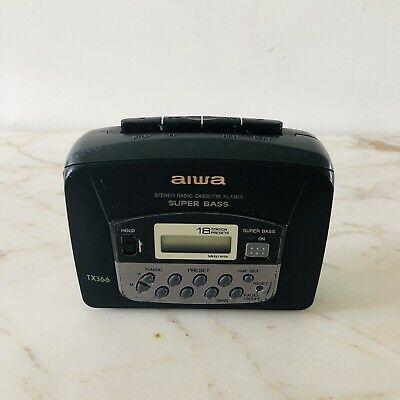 Vintage AIWA HS-TX366 Portable Cassette Player Super Bass TESTED and WORKS