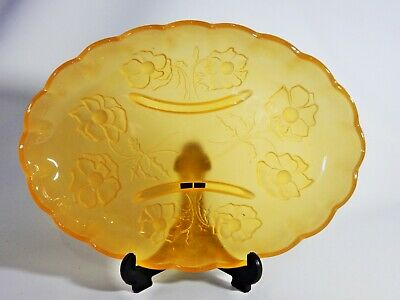Antique Art Deco Bagley Frosted Amber Depression Glass Oval Bowl Plate Flowers