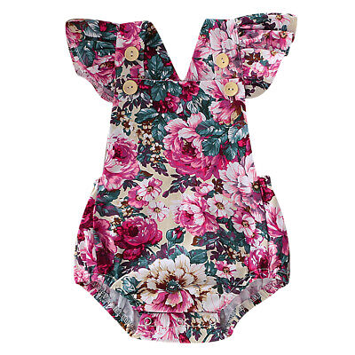 Newborn Baby Girl Flower Romper Jumpsuit Bodysuit Dress Clothes Summer Outfit