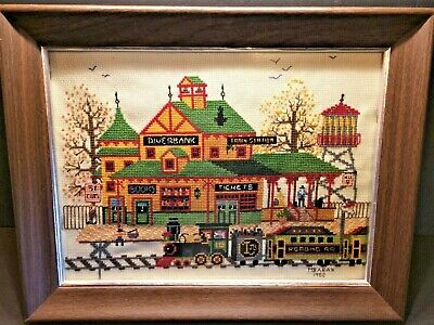 HANDSTITCHED NEEDLEPOINT CANVAS Train Station by M. BARAN- 1982