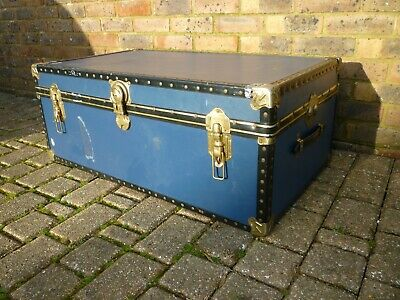 Old Travel Chest/Trunk-Lovely Hinges & Clamps etc-Good Used Condition