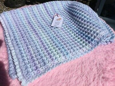 Large baby waffle hand crochet very soft blanket blue/lilac variegated yarn