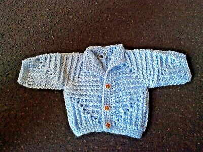 👶👶👶 Hand Made Crocheted Blue Baby Hexagon Cardigan / Jacket 3/6 Month 👶👶👶