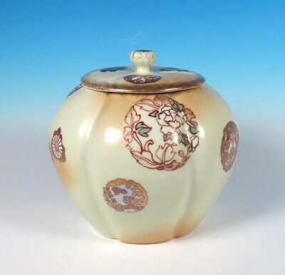 Japanese Antique Meiji Porcelain Peach Skin Slip Dec Cracker Biscuit Jar Signed