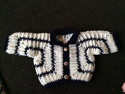 👶👶👶 Hand Made Crocheted White /  Navy Baby Cardigan / Jacket 3/6 Month 👶👶👶