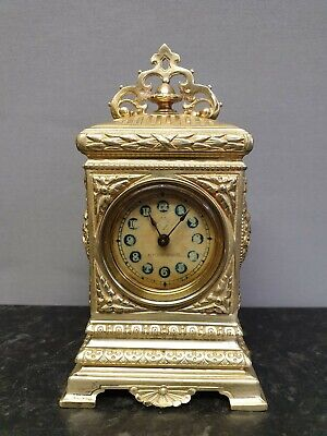 Vintage Edwardian Brass Table Clock