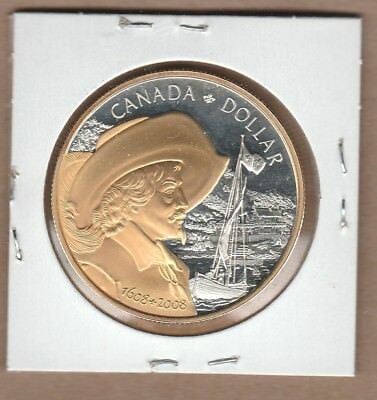 2008 Gold Plated Canada Silver Dollar from Proof Set Pure Silver Non Taxable