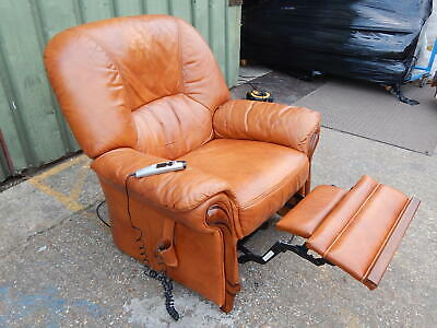Superb Italian tanned leather electric reclining armchair recliner lounge chair
