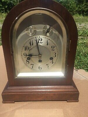 Junghans Westminster Chimes Clock Mahogany Case Westminster Chimes Runs Mantle
