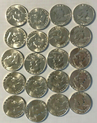 1954-S Bright Uncirculated Silver Franklin Half Dollars-roll of 20