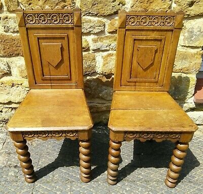 Victorian gothic revival oak hall chairs