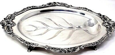 """Ornate Footed Silverplate Serving Platter Tray Vintage Wallace Baroque 17"""" x 12"""""""
