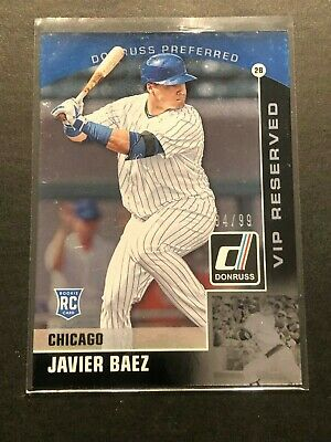 JAVIER BAEZ VIP Reserved Rookie Card #84/99 | 2015 Donruss Preferred Cubs RC