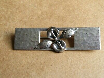 Vintage Arts & Crafts style hammered  Sterling Silver floral brooch