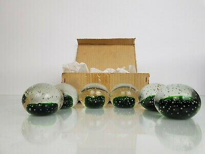 6 x DECORATIVE ROUND GREEN PEBBLE/BALL GLASS PAPERWEIGHTS, DISPLAY ORNAMENTS