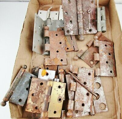 Rusty Hinges Lot Mixed Sizes Some Vintage Metal Parts Rustic Farm Barn Find