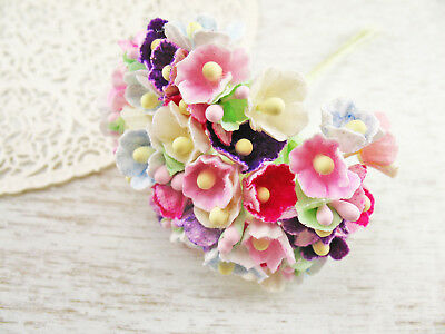 Vintage Style MIXED Colors Forget Me Nots Paper Flowers Bunch Mini Craft Easter