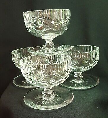 Set Of 4 Edinburgh E&L Crystal Vintage Footed Dessert Dishes with Star Cut