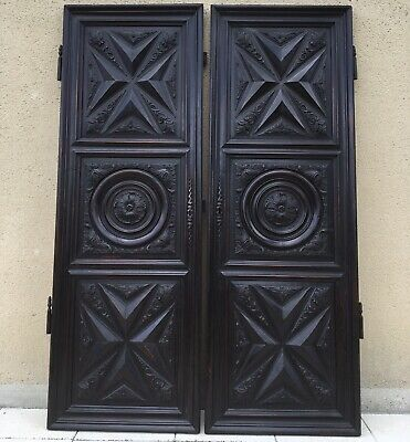 Antique French Carved Armoire Cupboard Doors Architectural Salvage Reclaimed