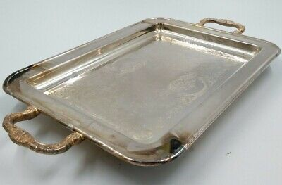 "Leonard Silver Plated 17"" Serving Tray Platter Floral Handles Feet Silverplate"