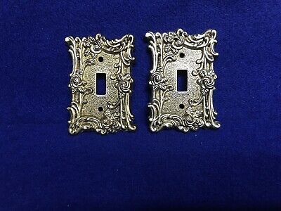 Vintage Brass American Tack & Hardware Switch plate Covers Pair & 4 Screws