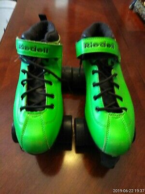 New Riedell Dart Roller Derby Speed Skates in Size 9 Lime Green.