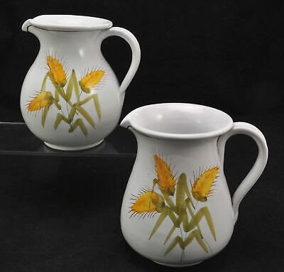 Pair of Hand Painted Italian Faience Harvest Wheat Pitchers Pippo Cetona