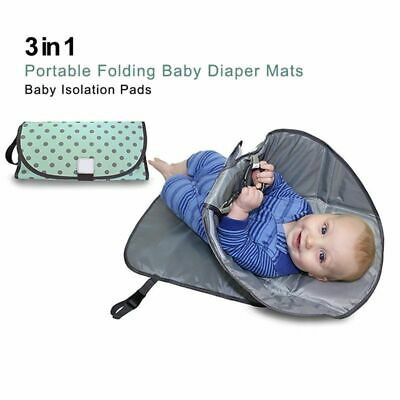 3X(Green wave point 3-in-one portable folding baby diaper pad baby urine car I3)