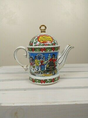Sadler Christmas Holiday Teapot Made In England Gold Detail