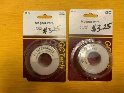 TWO 100 Foot Spools of  24 AWG Gauge Enameled Copper Magnet Wire
