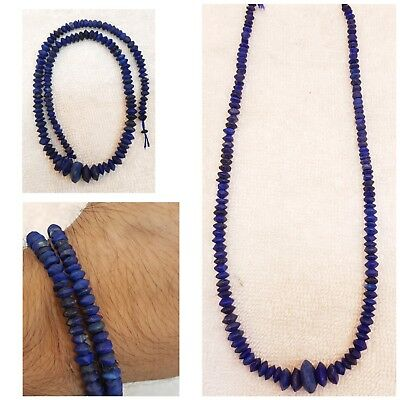 39Cm Outstanding Very Old Lapis lazuli Stone Necklace Old Strand Beads  #68