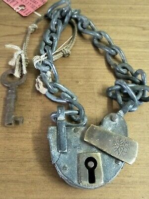 Antique Vintage Original Padlock And Matching Key