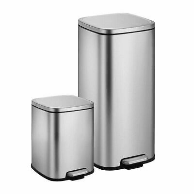 2-Pack Stainless Steel Step Trash Cans Soft Close Hands-Free Combo Pack 30L & 6L