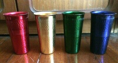 Set Of 4 Aluminium Cups Made By F.A.C.O. In Milano Italy