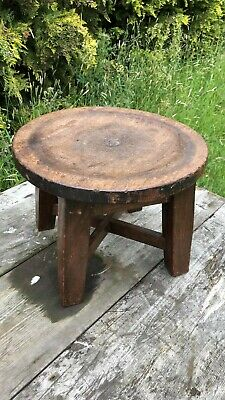 Beautiful Vintage Hand Made Wooden Foot Stool, Seat Table *