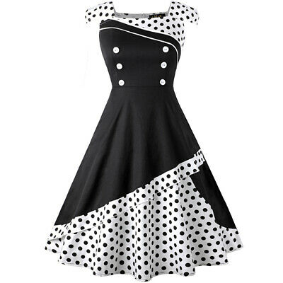 Womens Ladies 50s 60s Retro Style Vintage Rockabilly Evening Party Swing Dress