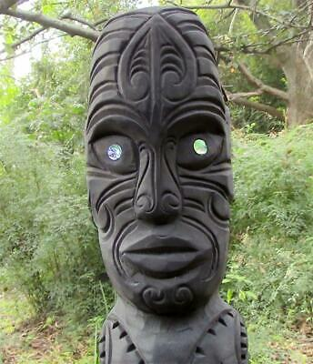 LARGE MAORI TA-MOKO TIKI with ancestral tattoos weather-proof stone statue